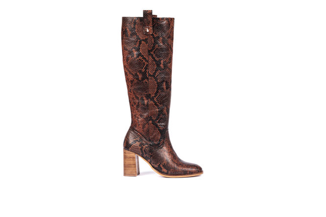 high boots, brown boots, snakeskin boots, eternal collection, friendly fire