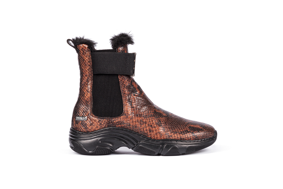 brown chealsea boot, snake boots, friendly fire boots, eternal collection